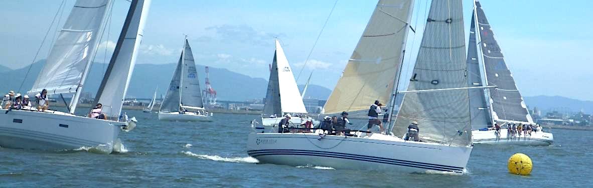 第25回天神祭奉納ヨットレース第1マークアプローチ